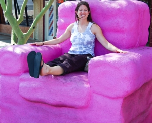 Mary in the big pink chair