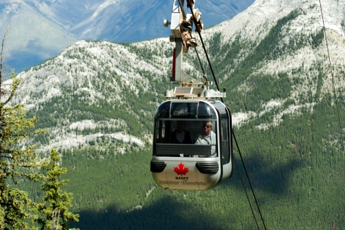 Gondola going up the mountain