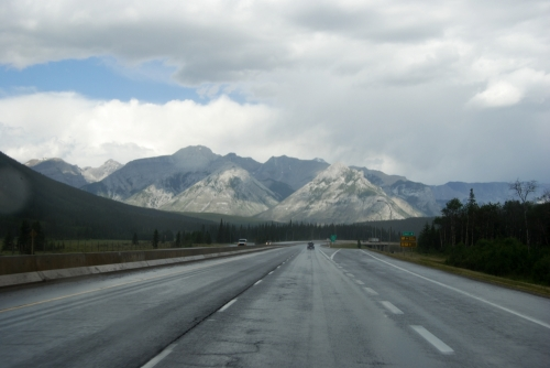 Leaving Banff in the rain