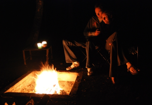 Sitting by the camp fire