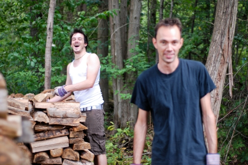 Scott and Steve stacking wood