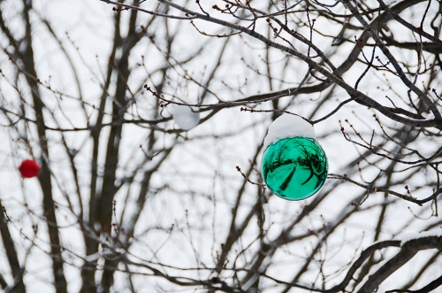 Christmas balls with snow