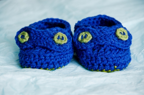 Blue and green baby booties