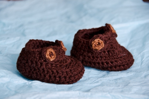 Brown baby booties